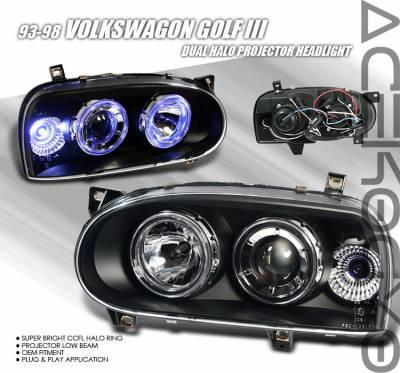 Headlights & Tail Lights - Headlights - Custom - Black Dual Halo Pro Headlights