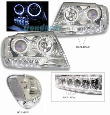 Headlights & Tail Lights - Headlights - Custom - Chrome Clear Dual Halo Pro LED Headlights