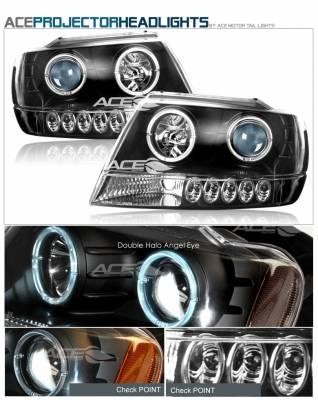 Headlights & Tail Lights - Headlights - Custom - Black Dual Halo Angel Eye LED Headlights