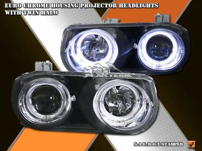 Headlights & Tail Lights - Headlights - Custom - Euro Chrome Dual Halo Headlights