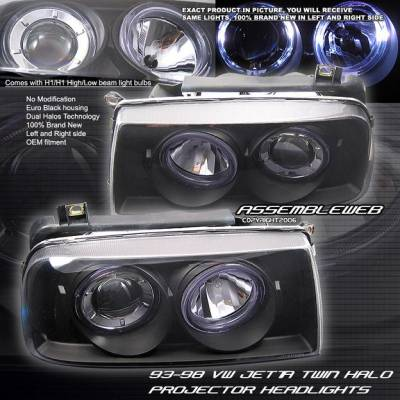 Headlights & Tail Lights - Headlights - Custom - Euro Black Halo Headlights