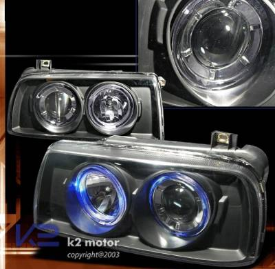 Headlights & Tail Lights - Headlights - Custom - Black Dual Halo Pro Headlights