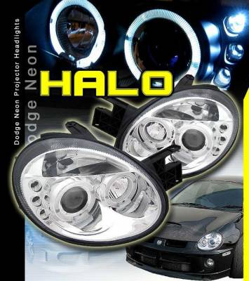 Headlights & Tail Lights - Headlights - Custom - Chrome Dual Halo LED Headlights
