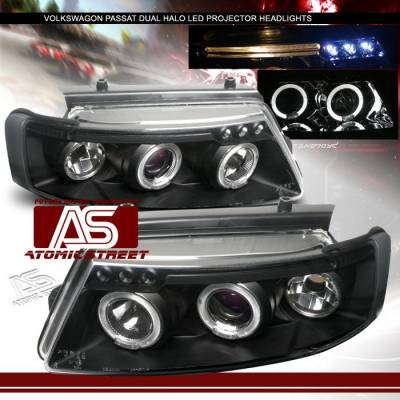 Headlights & Tail Lights - Headlights - Custom - Black LED Halo Projector Headlights