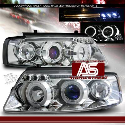 Headlights & Tail Lights - Headlights - Custom - Halo LED Projector Headlights