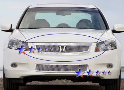 Grilles - Custom Fit Grilles - APS - Honda Accord 4DR APS Wire Mesh Grille - Upper - Stainless Steel - H76555T