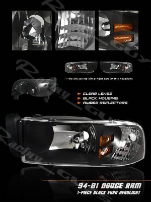 Headlights & Tail Lights - Headlights - Custom - Black Clear Lense Headlights