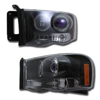 Headlights & Tail Lights - Headlights - Custom - Black Blue Halo Pro Headlights
