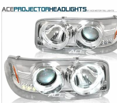 Headlights & Tail Lights - Headlights - Custom - Chrome Dual Halo Pro LED Headlights