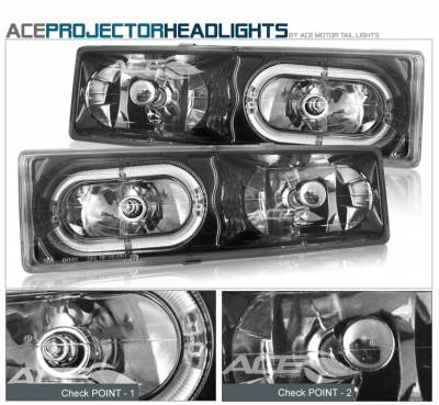 Headlights & Tail Lights - Headlights - Custom - Black Chrome Halo Headlights