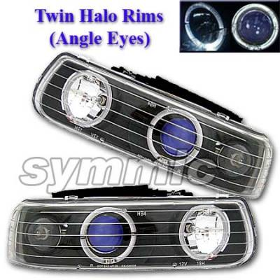 Headlights & Tail Lights - Headlights - Custom - Black Blue Two Halo Headlights