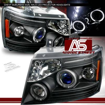 Headlights & Tail Lights - Headlights - Custom - Black Dual Halo LED Headlights