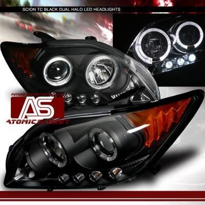 Headlights & Tail Lights - Headlights - Custom - Black Dual Halo LED Headlights