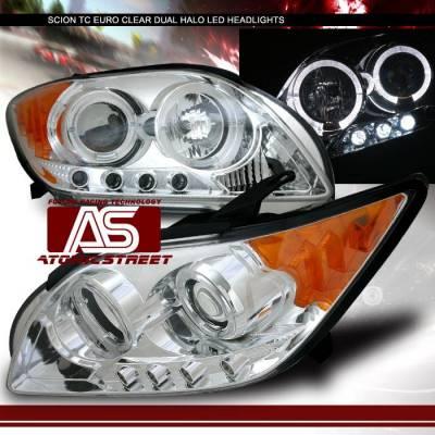 Headlights & Tail Lights - Headlights - Custom - Chrome Clear Dual Halo Headlights