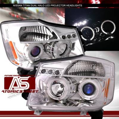 Headlights & Tail Lights - Headlights - Custom - Chrome Dual Halo LED Pro Headlights