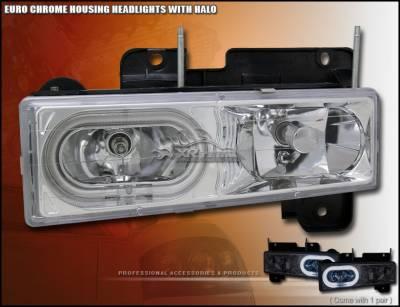 Headlights & Tail Lights - Headlights - Custom - Euro Chrome Halo Headlights