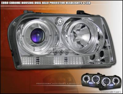 Headlights & Tail Lights - Headlights - Custom - Chrome Dual Halo LED Headlights
