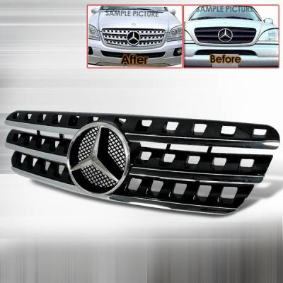 Grilles - Custom Fit Grilles - Custom Disco - Mercedes-Benz ML Custom Disco Black Front Grille - HG-BW16396AMGBK