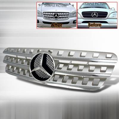 Grilles - Custom Fit Grilles - Custom Disco - Mercedes-Benz ML Custom Disco Silver Front Grille - HG-BW16396AMGS