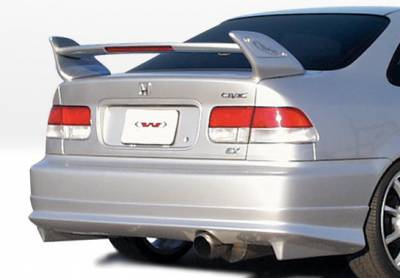 Civic 2Dr - Rear Add On - VIS Racing - Honda Civic 2DR & 4DR VIS Racing W-Type Rear Lip - Polyurethane - 890375