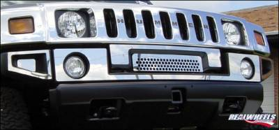 H2 - Front Bumper - RealWheels - Hummer H2 RealWheels Front Upper Bumper Overlay Kit - Polished Stainless Steel - 8PC - RW103-1-A0102