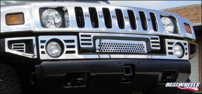 H2 - Front Bumper - RealWheels - Hummer H2 RealWheels Slotted Front Upper Bumper Overlay - Polished Stainless Steel - 8PC - RW103-2-A0102