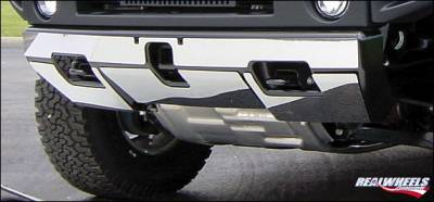 RealWheels - Hummer H2 RealWheels Front Lower Bumper Overlay Kit - Polished Stainless Steel - 4PC - RW104-1-A0102