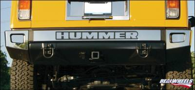 H3 - Body Kit Accessories - RealWheels - Hummer H3 RealWheels Rear Bumper Letter Trim - Polished Stainless Steel - 1PC - RW106-1-H3T