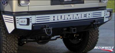 H2 - Rear Bumper - RealWheels - Hummer H2 RealWheels Slotted Rear Upper Bumper Overlay Kit - Polished Stainless Steel - 10PC - RW106-2-A0102