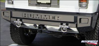 H2 - Rear Bumper - RealWheels - Hummer H2 RealWheels Rear Upper & Lower Bumper Overlay Kit - Polished Stainless Steel - 15PC - RW108-1-A0102