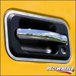 Suv Truck Accessories - Chrome Billet Door Handles - RealWheels - Hummer H3 RealWheels Door Handle Trim - Polished Stainless Steel - Kit - RW122-1-H3T