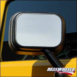 H2 - Mirrors - RealWheels - Hummer H2 RealWheels Side Mirror Back Plate - Polished Stainless Steel - Pair - RW132-1-A0102