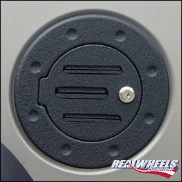 Accessories - Fuel Tank Covers - RealWheels - Hummer H3 RealWheels Grooved Locking Fuel Door - Black Powder Coat - 1PC - RW202-2BP-H3T