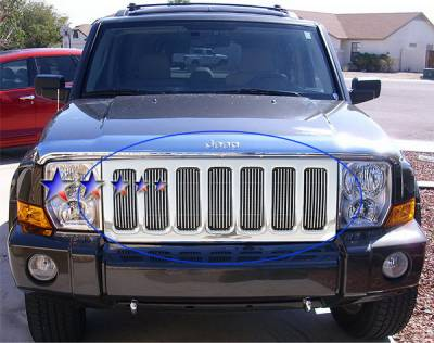 Grilles - Custom Fit Grilles - APS - Jeep Commander APS Billet Grille - Upper - Aluminum - J65499V