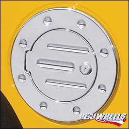Accessories - Fuel Tank Covers - RealWheels - Hummer H3 RealWheels Grooved Locking Fuel Door - Billet Aluminum - 1PC - RW202-2-H3T
