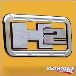 H2 - Body Kit Accessories - RealWheels - Hummer H2 RealWheels Logo Trim - Billet Aluminum - Pair - RW220-1-A0102