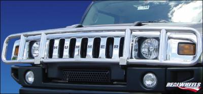 Grilles - Grille Guard - RealWheels - Hummer H3 RealWheels Brush Guard - Standard without Inserts - Stainless Steel - 1PC - RW300-1-A0103