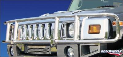 RealWheels - Hummer H2 RealWheels Brush Guard - Single Tier Wrap Around - Polished Stainless Steel - 1PC - RW301-1-A0102