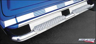 RealWheels - Hummer H2 RealWheels Bent Side Step Tube with Stainless Steel Step & Upper Tube Facade Plain Back Plate - Kit - RW401-5-A0102