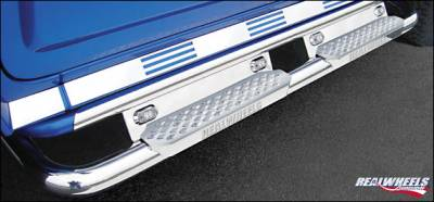 RealWheels - Hummer H2 RealWheels Bent Side Step Tube with Stainless Steel Step & Upper Tube Facade LED Lighted Back Plate - Kit - RW401-6-A0102