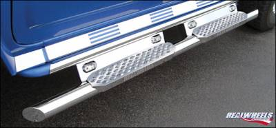 Suv Truck Accessories - Running Boards - RealWheels - Hummer H2 RealWheels Straight Tube with Step - Upper Full Tube Facade with LED Lighted Back Plate - Stainless Steel - Kit - RW402-6-A0102