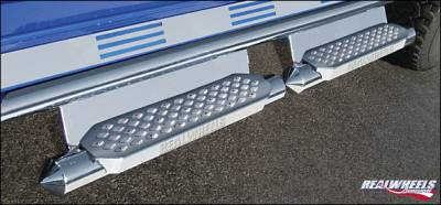Suv Truck Accessories - Running Boards - RealWheels - Hummer H2 RealWheels Torpedo Tube with Step - Upper Full Tube Facade with Plain Back Plate - Stainless Steel - Kit - RW403-5-A0102