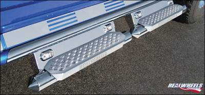 Suv Truck Accessories - Running Boards - RealWheels - Hummer H2 RealWheels Torpedo Tube with Step - Upper Full Tube Facade with LED Lighted Back Plate - Stainless Steel - Kit - RW403-6-A0102
