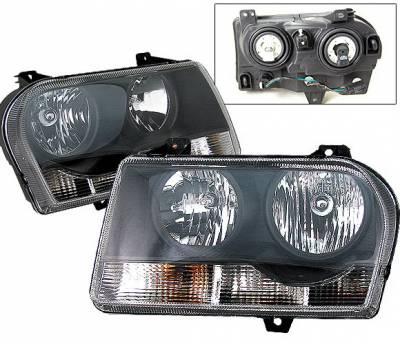 Headlights & Tail Lights - Headlights - 4 Car Option - Chrysler 300 4 Car Option OEM Headlights - Black - LH-C300B-KS