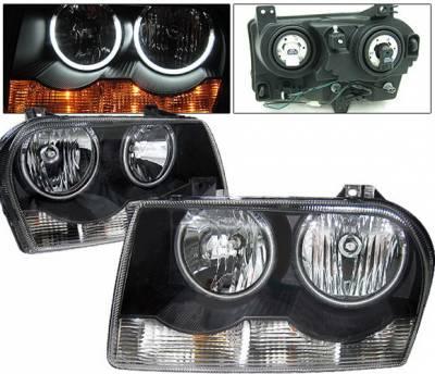 Headlights & Tail Lights - Headlights - 4 Car Option - Chrysler 300 4 Car Option Halo Headlights - Black CCFL - LH-C300B-KS-CCFL
