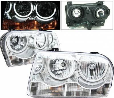 Headlights & Tail Lights - Headlights - 4 Car Option - Chrysler 300 4 Car Option Halo Headlights - Chrome CCFL - LH-C300C-KS-CCFL