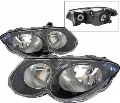 Headlights & Tail Lights - Headlights - 4 Car Option - Chrysler 300 4 Car Option Diamond Headlights - Black - LH-C300M99B