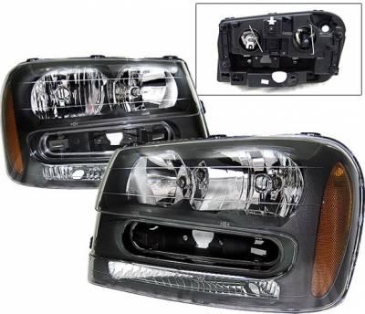 Headlights & Tail Lights - Headlights - 4 Car Option - Chevrolet Trail Blazer 4 Car Option Headlights - Black - LH-CTB02B-KS