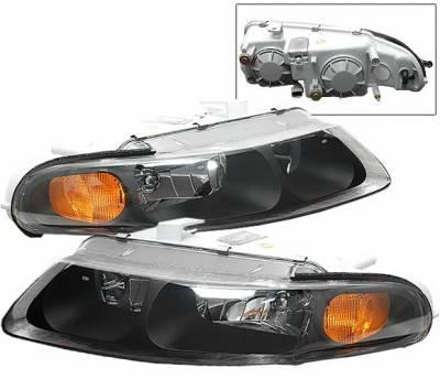 Headlights & Tail Lights - Corner Lights - 4 Car Option - Dodge Avenger 4 Car Option JDM Black Headlights with Euro Corner - LH-DAV97B-KS