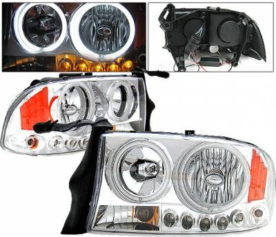 Headlights & Tail Lights - Headlights - 4 Car Option - Dodge Dakota 4 Car Option Halo Headlights - Chrome CCFL - LH-DD97C-KS-CCFL